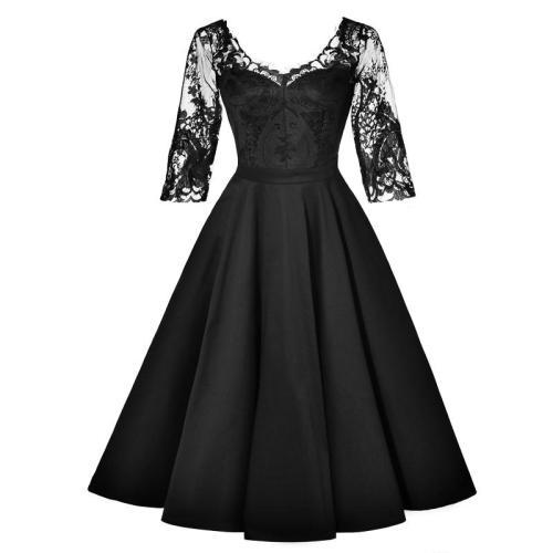 Vintage Lace half sleeve evening Dress v-neck elegant evening gown  Party Slim fit evening Dresses vestido de festa