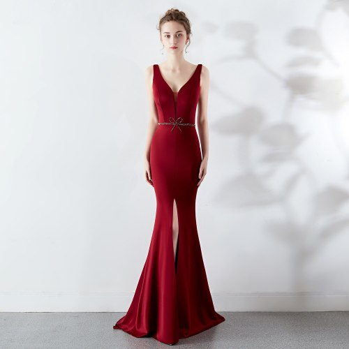 Sexy V-neck evening dress party elegant long mermaid evening dresses Slim fit  beaded evening gown Open fork Formal Dress