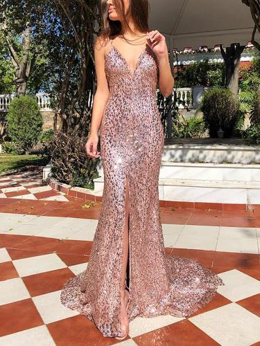 Sexy V Neck Bare Back Sleeveless Paillette Evening Dress