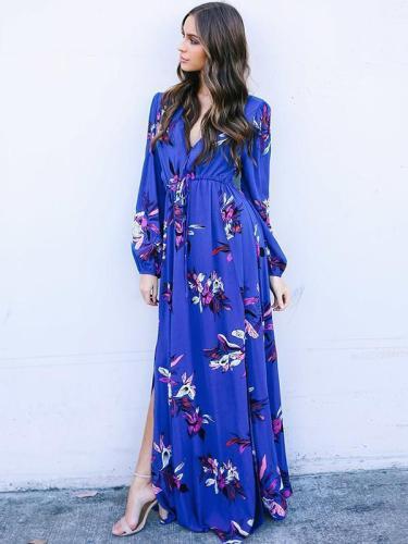 V-neck Long-Sleeve Floral-Print Maxi Bohemia Dress