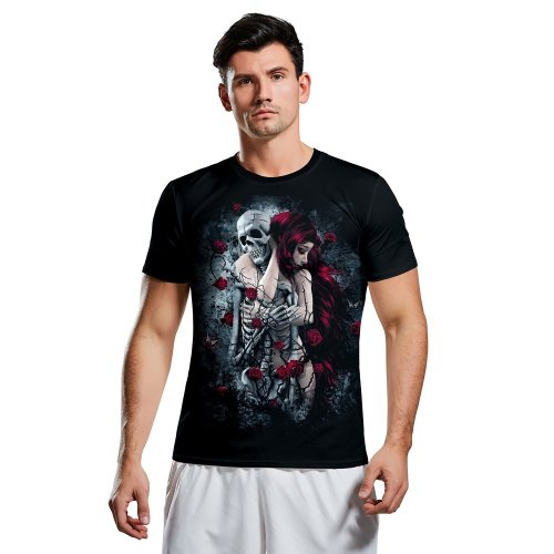 Halloween 3d Skull Print Short Sleeve T-shirt