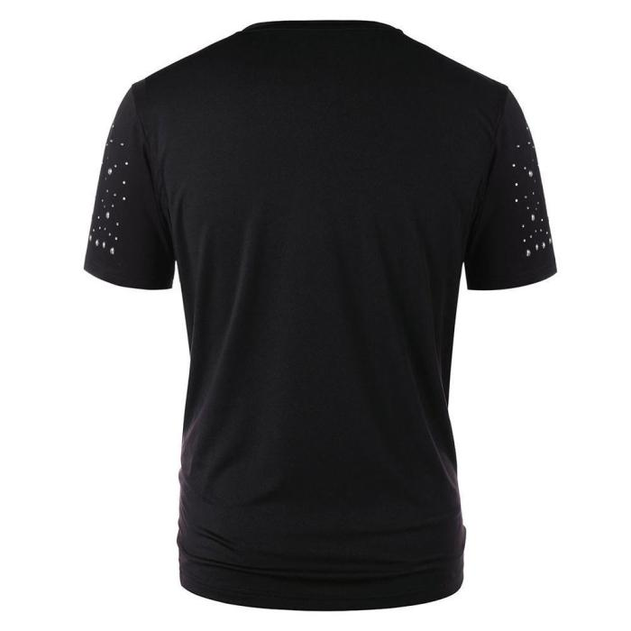 Round Neck Short Sleeve Solid Color Studded T-shirt