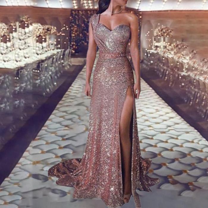 Sleeveless Gilded Gown Slit Dress