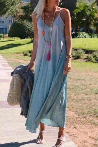 Women Long Dress Sexy Spaghetti Strap Sleeveless Boho Beach Dresses Boho Loose v Neck Beach Maxi Casual Dress