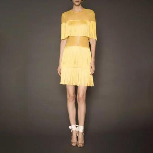 Fashion Round Neck Short Sleeve Splicing Tassel Dress