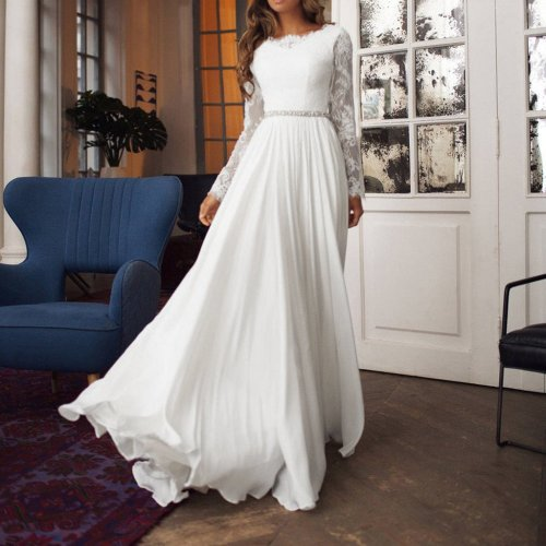 Fashion O-Neck Solid Colour Print Slim Fit Lace Hollow  Maxi  Dress