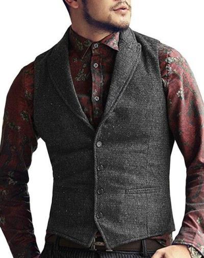 Mens Suit Vest Lapel V Neck Wool Herringbone Casual Formal Business Vest Waistcoat Groomman For Wedding Green/Black/Brown