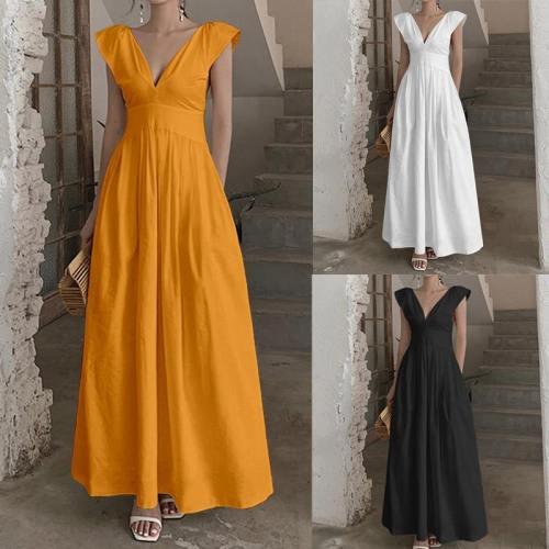 Sexy V Neck Summer Dress 2020 Short Sleeve Holiday Sundress Ruffled Maxi Dresses