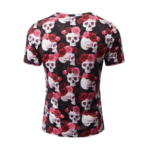 Halloween Skull Floral Print 3D Men's T-Shirt