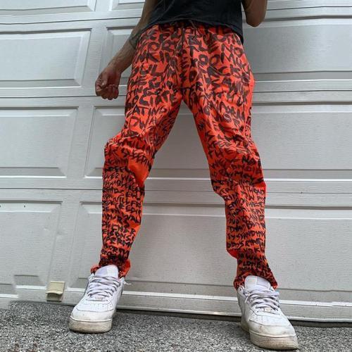 Orange alphabet casual loose mens trousers TT010