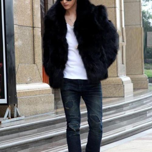 Faux Fox Fur Coat Wool Fur Grass Men's Fur Coat