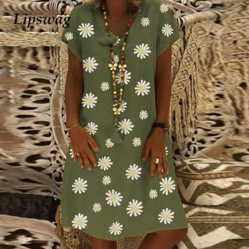 Women Plus Size Cotton Linen Dress Summer Short Sleeve Loose Party Casual  Dress