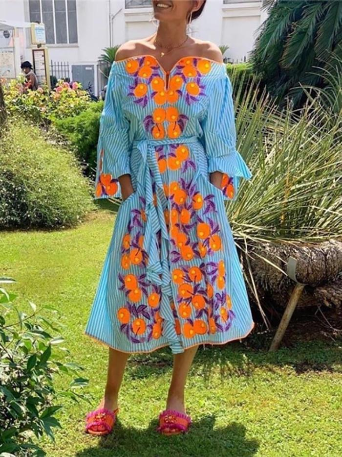 Women's Striped Embroidery Flower Dress
