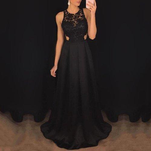 Sexy Black Sleeveless Evening Maxi Dress