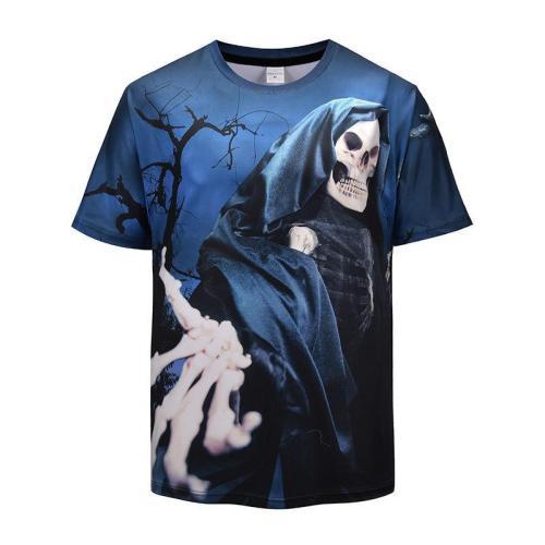 Halloween Men Plus Size 3D Skull Print Casual T-shirt