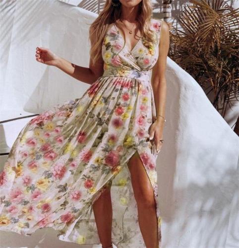 V Neck Split Maxi Dress Summer Floral Spaghetti Strap Party Chiffon Elegant Casual Dresses Beach Casual Dress