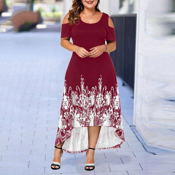 Evening Party Summer Plus Size Maxi Dress Women 5XL 2020 Short Sleeve Floral Printed Elegant Large Dress For Ladies vestidos