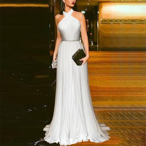 Elegant Cross Off-Shoulder Splicing Chiffon Evening Dress