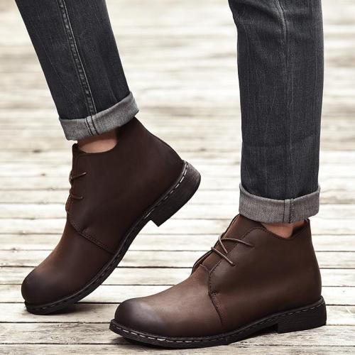 Winter Autumn Real Leather Men Boots Casual British Design Ankle Leather Boots for Men Warm Boot Shoes Men Big Size 38-47