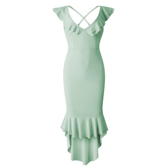 Lotus Leaf Sleeves Irregular Skirts Deep V-Neck Dress