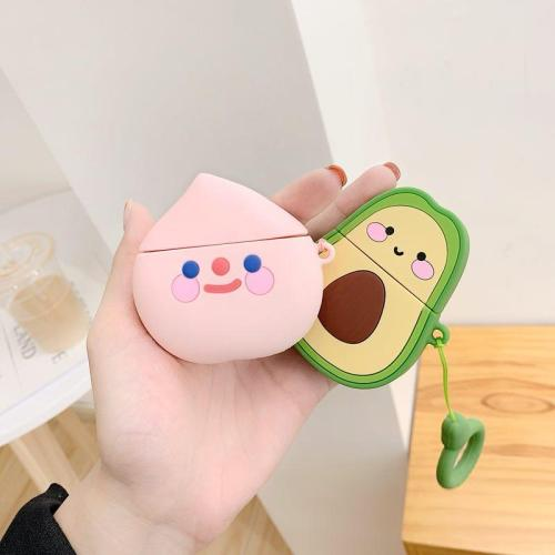 Fruit Avocado 3D Silicone Couple AirPod Case Cover with Ring