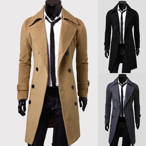 Fashion Coat Men Wool Coat Winter Warm Solid Long Trench Jacket Breasted Business Casual Overcoat Parka пальто мужское