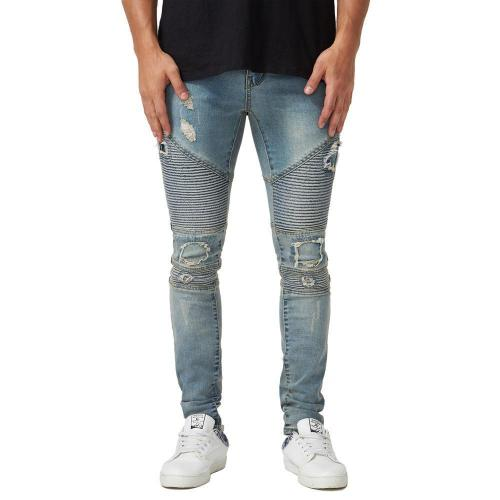 Casual Solid Zipper Mid Waist Hole Jeans