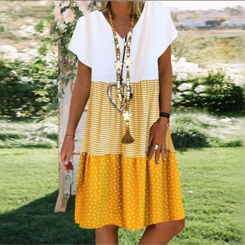 Ladies casual V-neck printed short sleeve dress