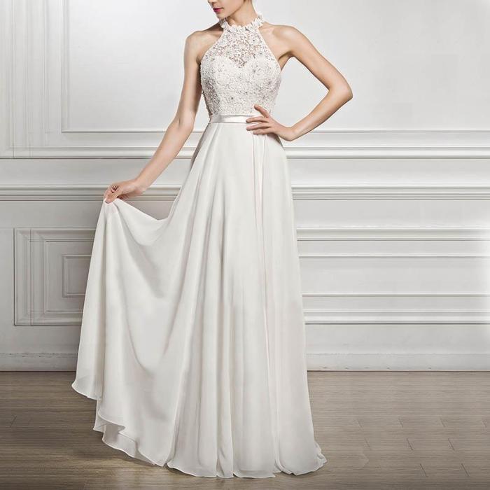 High-End Evening Dress Sleeveless Neck Wedding Dress