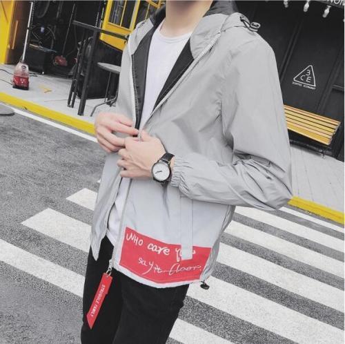 Men 3m Reflective Windbreaker Jackets Streetwear Hip Hop Mens College Japanese Hooded Fluorescent night shiny  Waterproof Coat