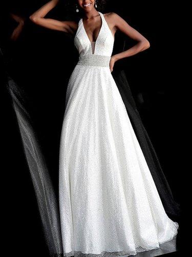 Elegant Sexy Hanging Neck Bare Back Dress Evening Dress