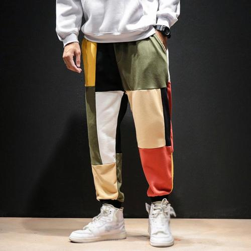 Men's Fashion Coloring Trend Elastic Waist Loose Pants