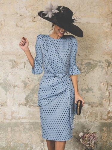 Fashion Ruffles Polka Dot Petal Sleeve Bodycon Dress Evening Dress