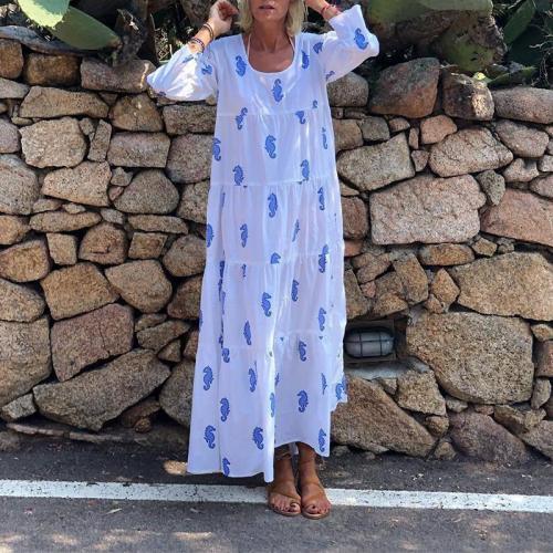 Women's Long Sleeve Printed Sweet Loose Dress