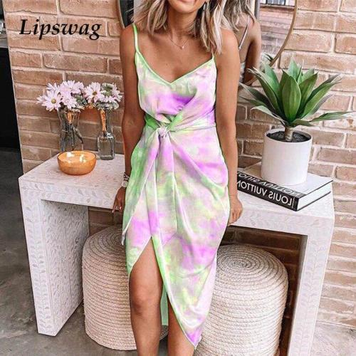 Tie-Dye Print Irregular Boho Long Dress Sexy Backless V Neck Strap Party Dress Summer Elegant Women Bandage Pleated Maxi Dress