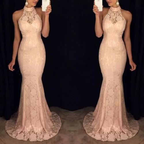 Sleeveless Halter Sexy Slim Evening Dress