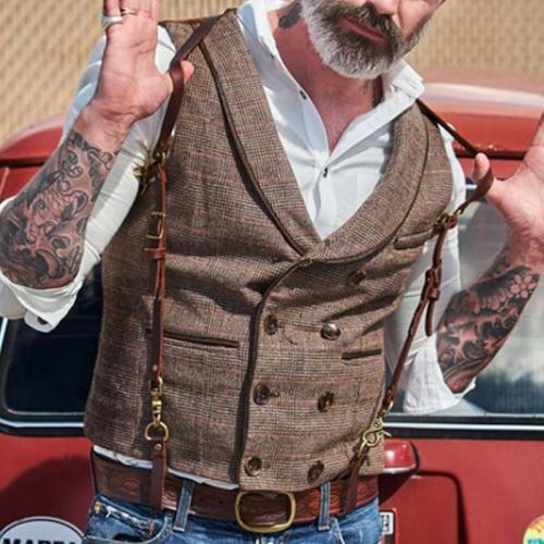 Flashmay Vintage check V-neck slim vest