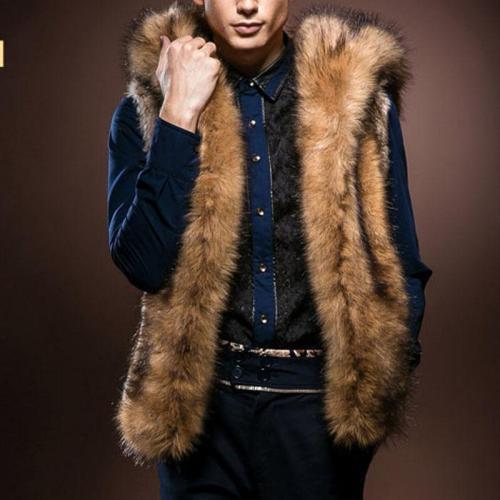 Casual Winter Plain Fur Thick Vest Coat