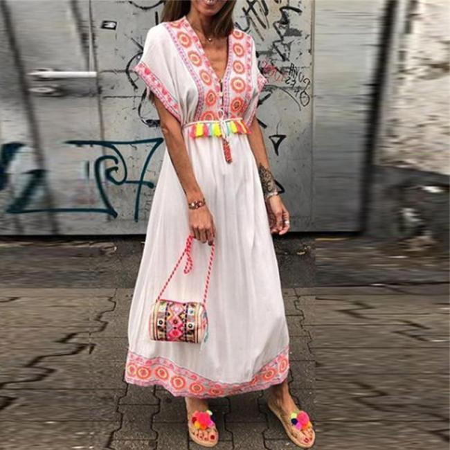Fashion V-Neck Printed Raglan Sleeves Slim Dresses