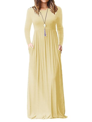 Casual Long Sleeve Solid Maxi Dress