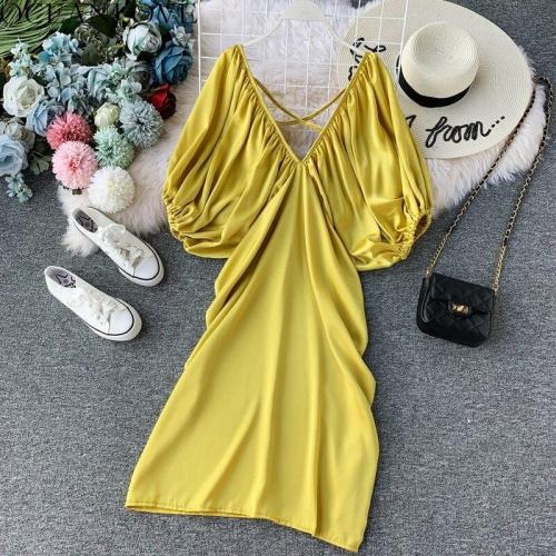 JOYMANMALL Retro Solid Plated Fashion Vestidos Elegant Korean Puff Sleeve Women Dress 2020 Summer V-neck Midi Dresses 12361