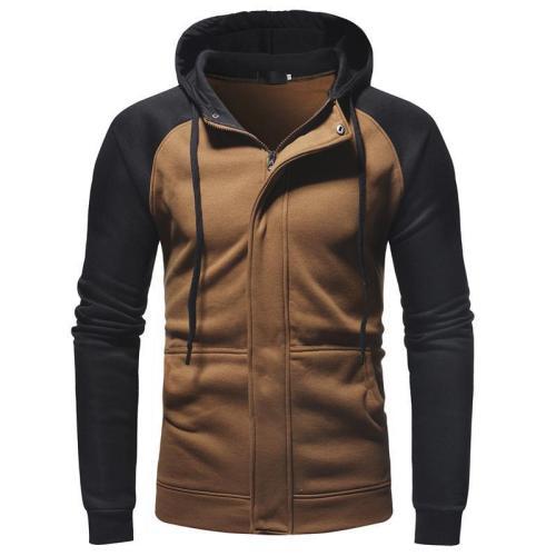 Men's casual slim zipper cardigan hooded sweater coat