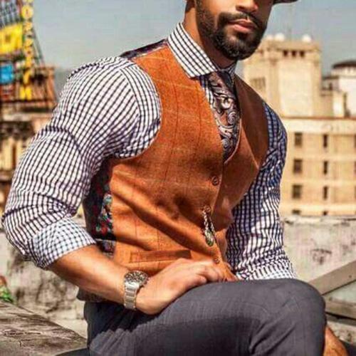 Fashion Printed Pockets V Neck Vest