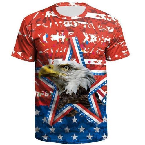 3D Flag Eagle Printed Short Sleeve T-shirt