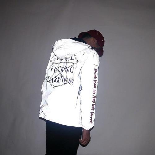 3M Reflective Men's Jackets Star of Darkness Religious Hooded Windbreaker Gothic Vintage Hip Hop Coats waterproof Men Clothes