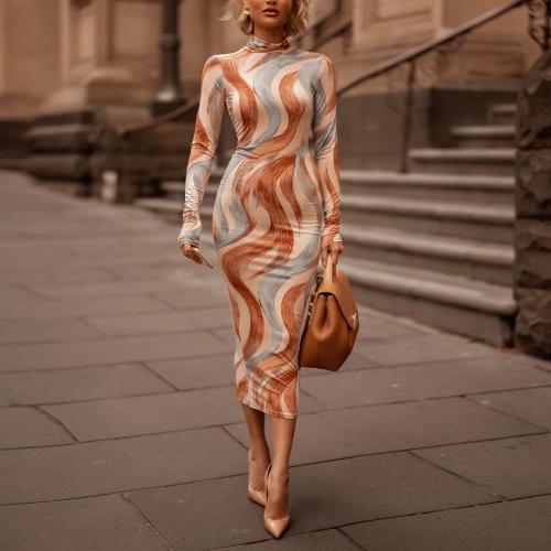 Sexy High Collar Digital Printed Slim Maxi Dress