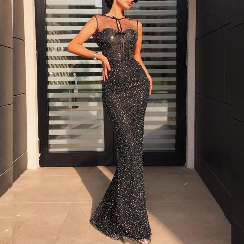 Sexy Mesh Slim Fishtail Evening Dress