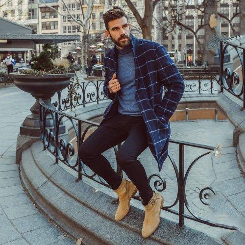 Fashion Casual Lapeled Slim Plaid  Coat