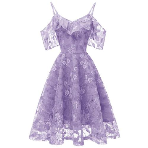 Sexy Short Evening Dress Lace  A-line Party gown Formal formal dress off shoulder Sling evening dress abiye gece elbisesi