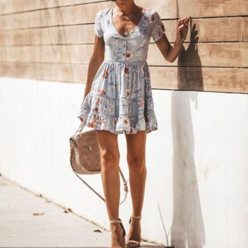 Sexy Printed V-Neck Short Sleeve Flounces Dress